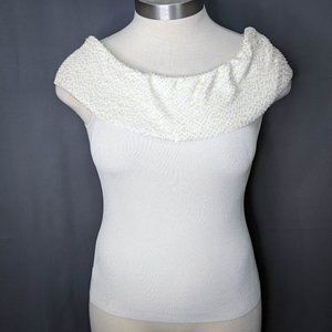 WHBM Womens Sweater Top Large Off White